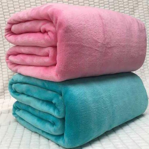 Super Plain Warm Micro Blanket Throw Bedding US