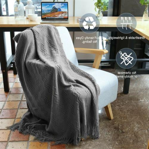 LANGRIA Pattern Knitted Tasseled Throw Blanket Couch