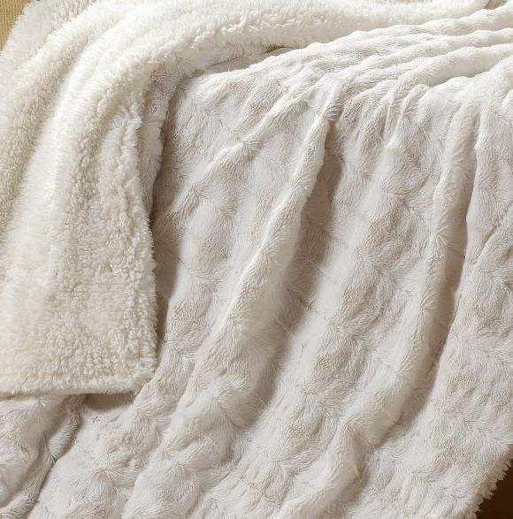 Tache Super Soft Ivory Polar With Sherpa Blanket White