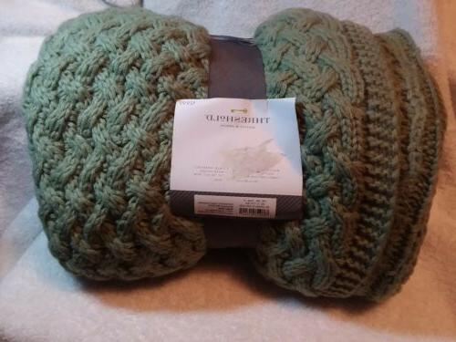 Threshold Green Knitted Throw Blanket 50x60""