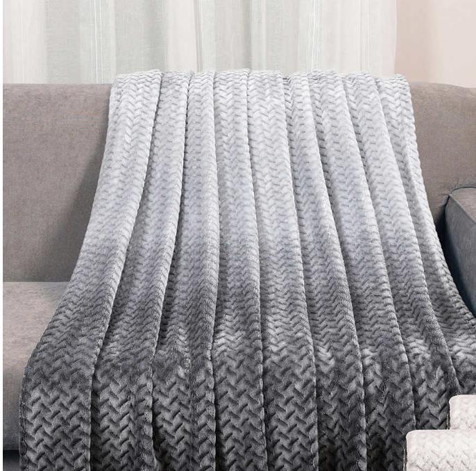 throw blanket jacquard black gray 60 x