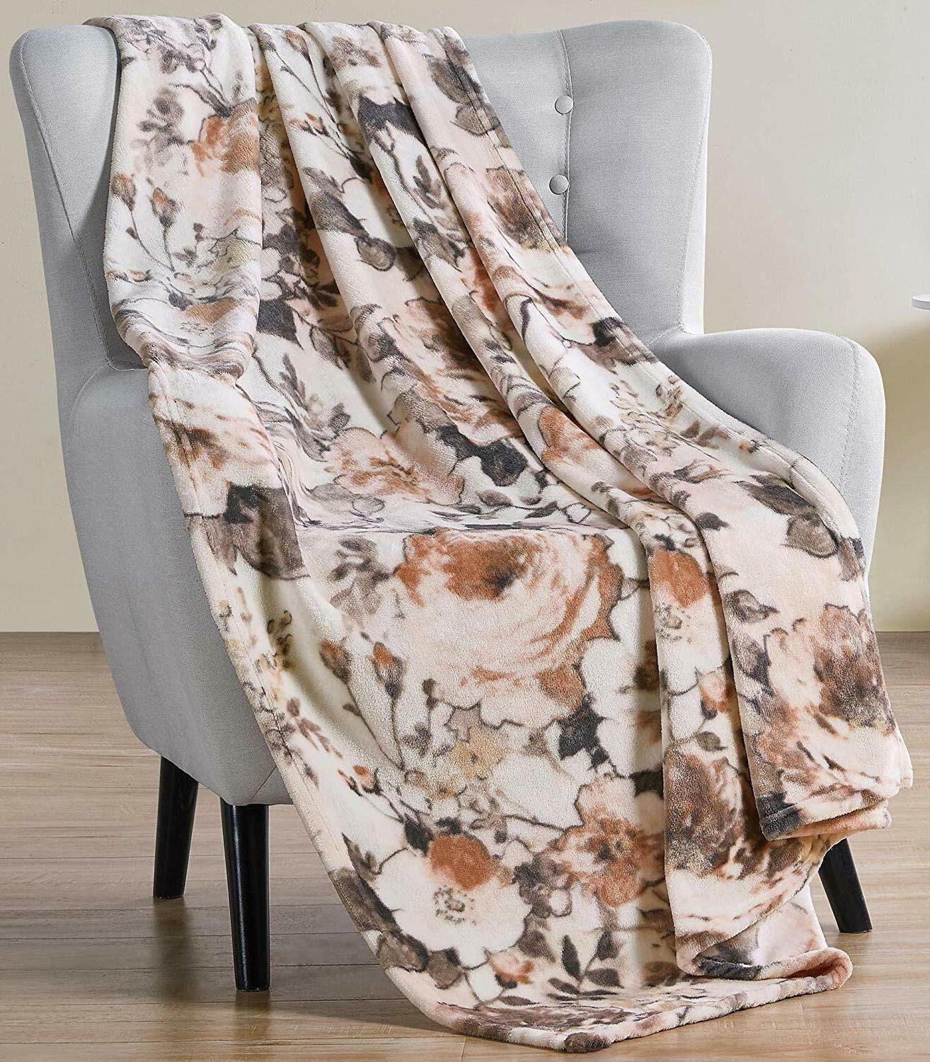 throw blanket large floral watercolor design accent
