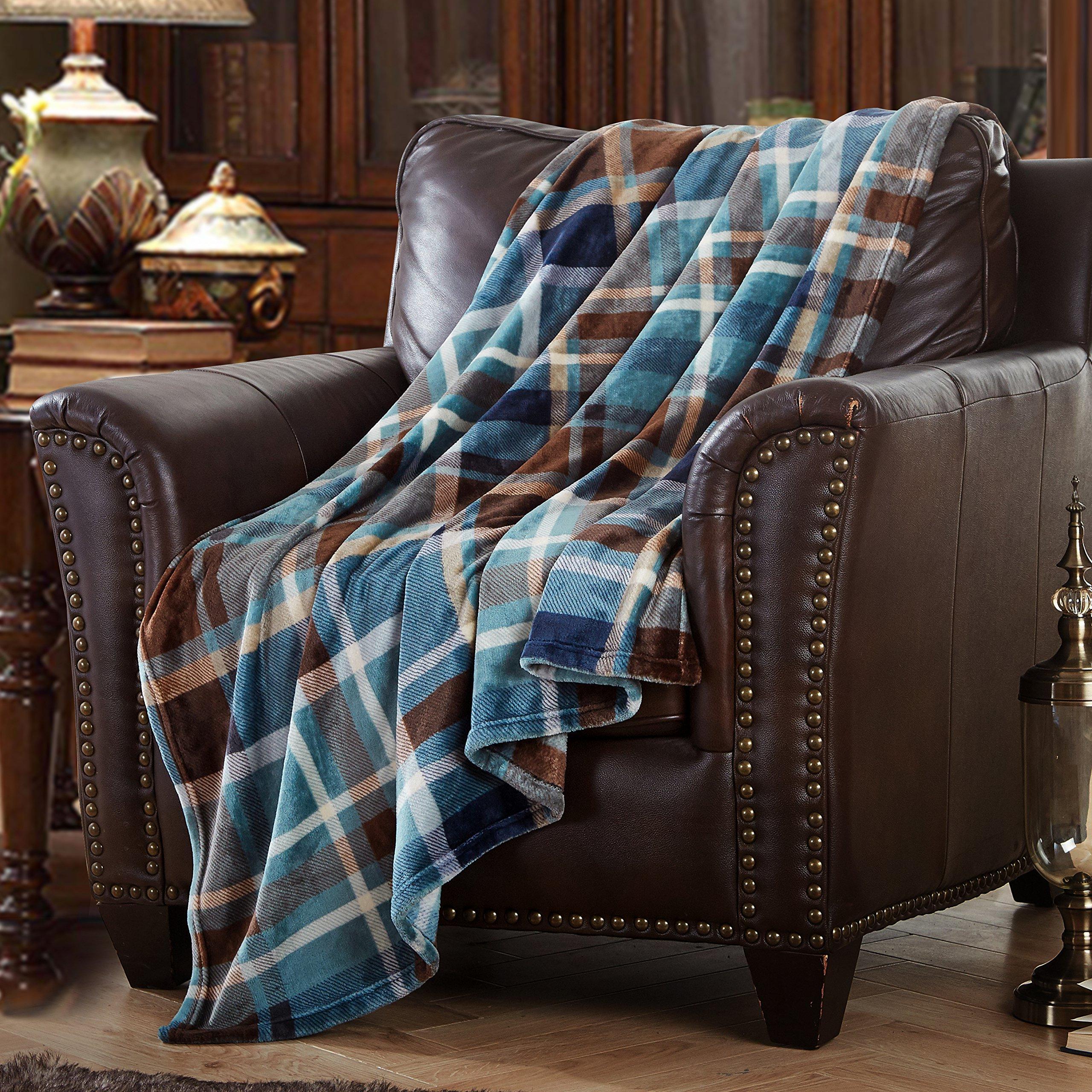 MERRYLIFE Throw Blanket Plaid Sherpa | Ultra-Plush Soft Colo