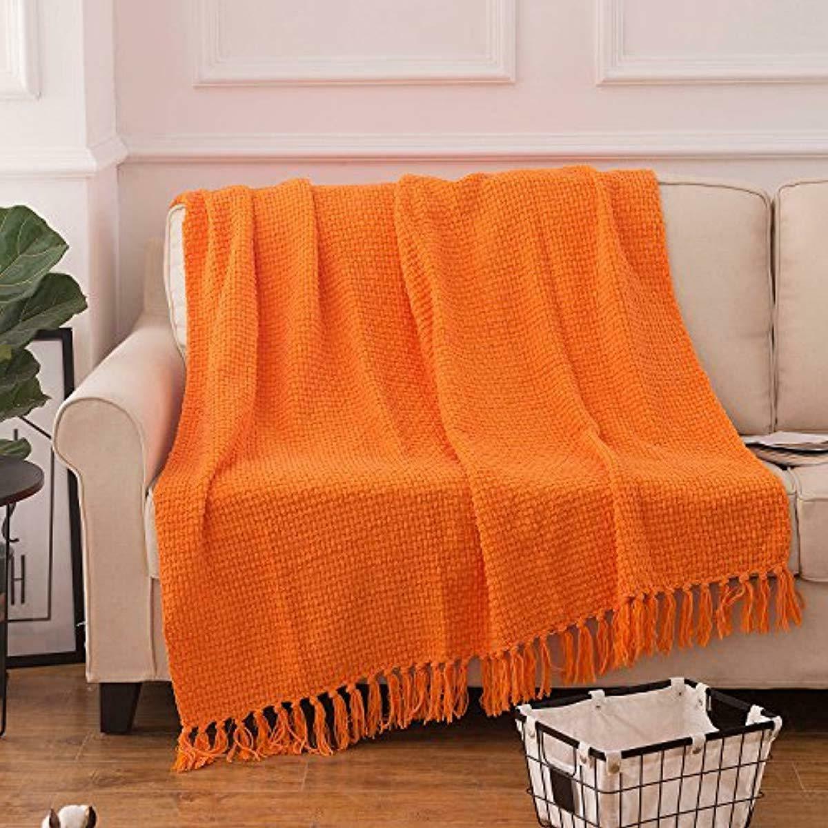 Throw Blanket Orange Pattern Autumn Melody