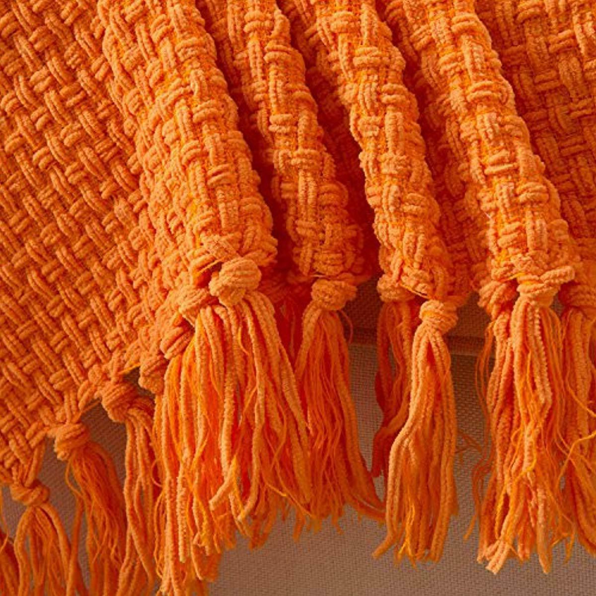 Throw Blanket Orange Woven Pattern Autumn House