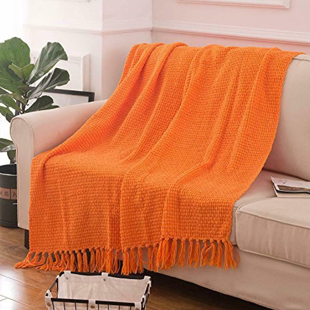 Throw Blanket Orange Woven Pattern