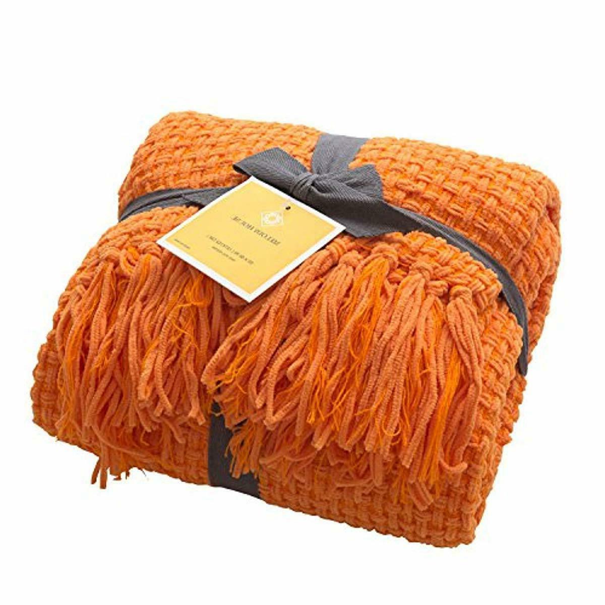 throw blanket super soft orange fall woven
