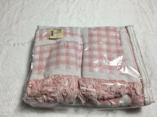 Throw Blanket Tea Rose Pink Checkered Hill USA NIP