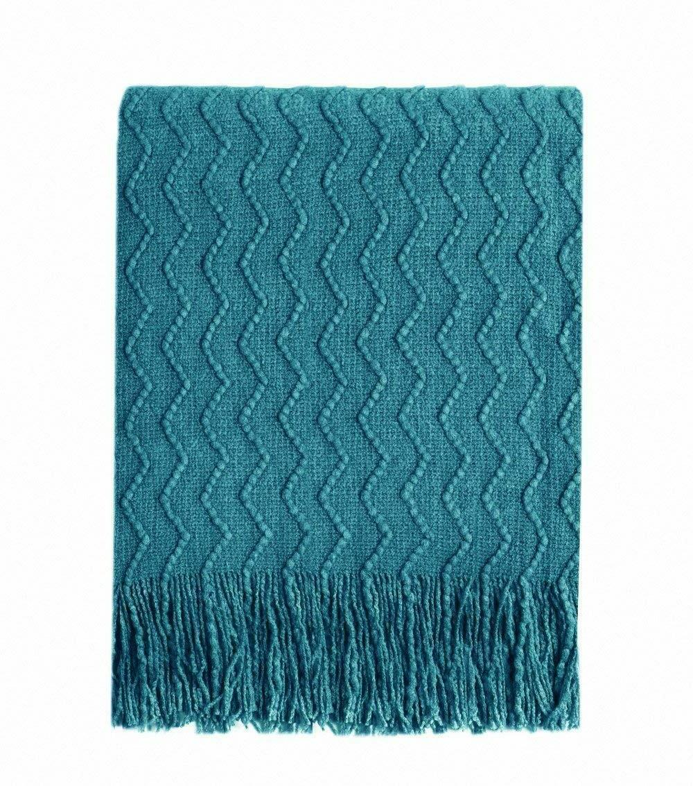 throw blanket teal textured solid soft sofa