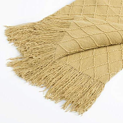 """Solid Decorative Knitted Blanket, x 60"""", Dark Yellow"""