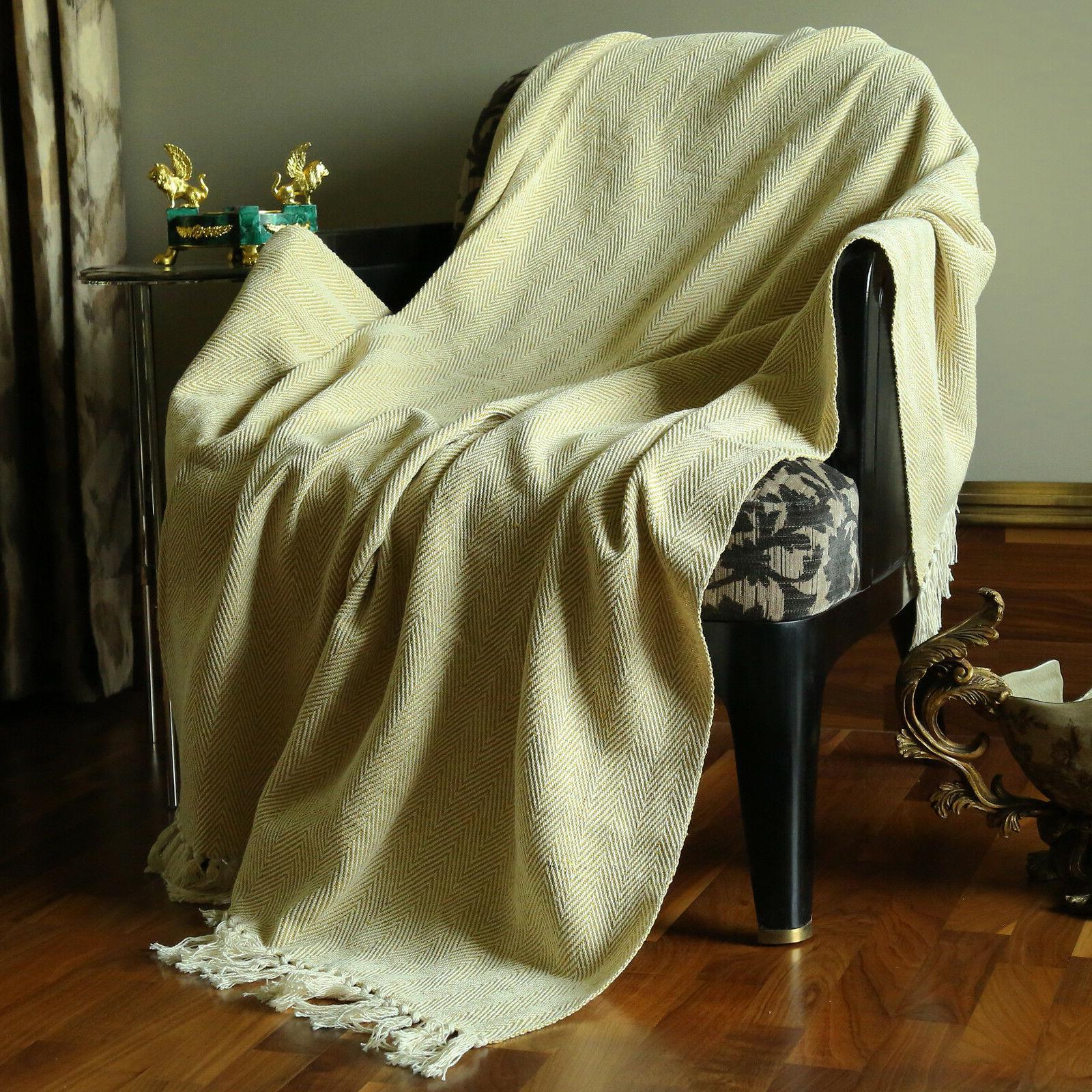 throw blanket with tassel woven travel blanket