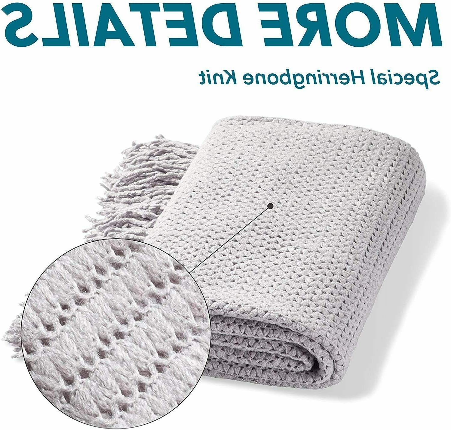 Bedsure Couch Soft Knit Woven Blanket Lightwe...