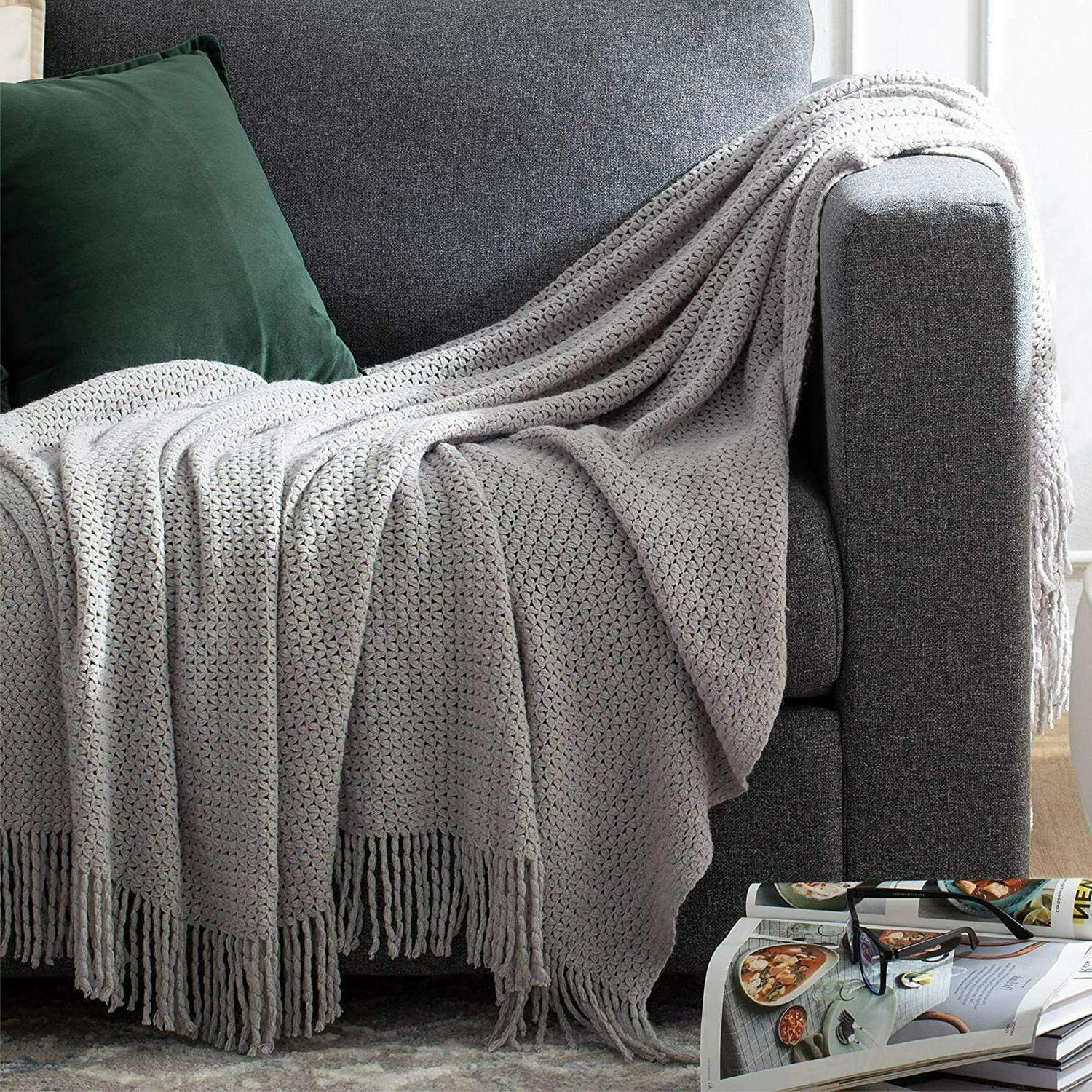throw blankets for couch soft knit woven