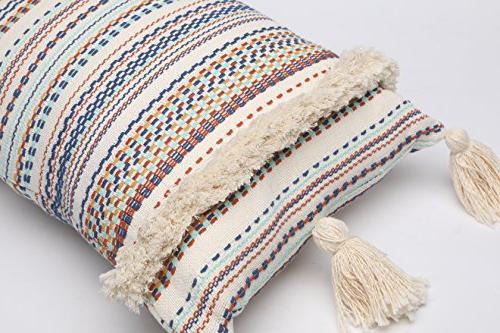 FLBER Decorative Pillows Throw Boho Pillow Tassel Sham Couch Pillowcase Cushion