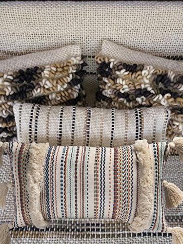 FLBER Boho Pillow Tassel Sham Couch