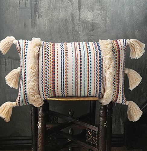 "FLBER Decorative Pillows Boho Sham Couch Pillowcase Covers,12""X20"""