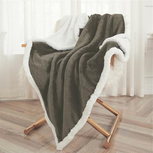 Throw Flannel Fleece Blanket Warm Sofa US