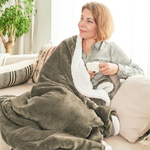 Throw Flannel Blanket Reversible Plush Warm Sofa US