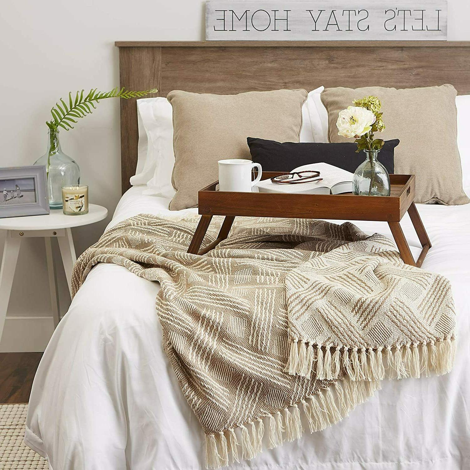 """DII Transitional Woven Throw 60"""", Stone"""