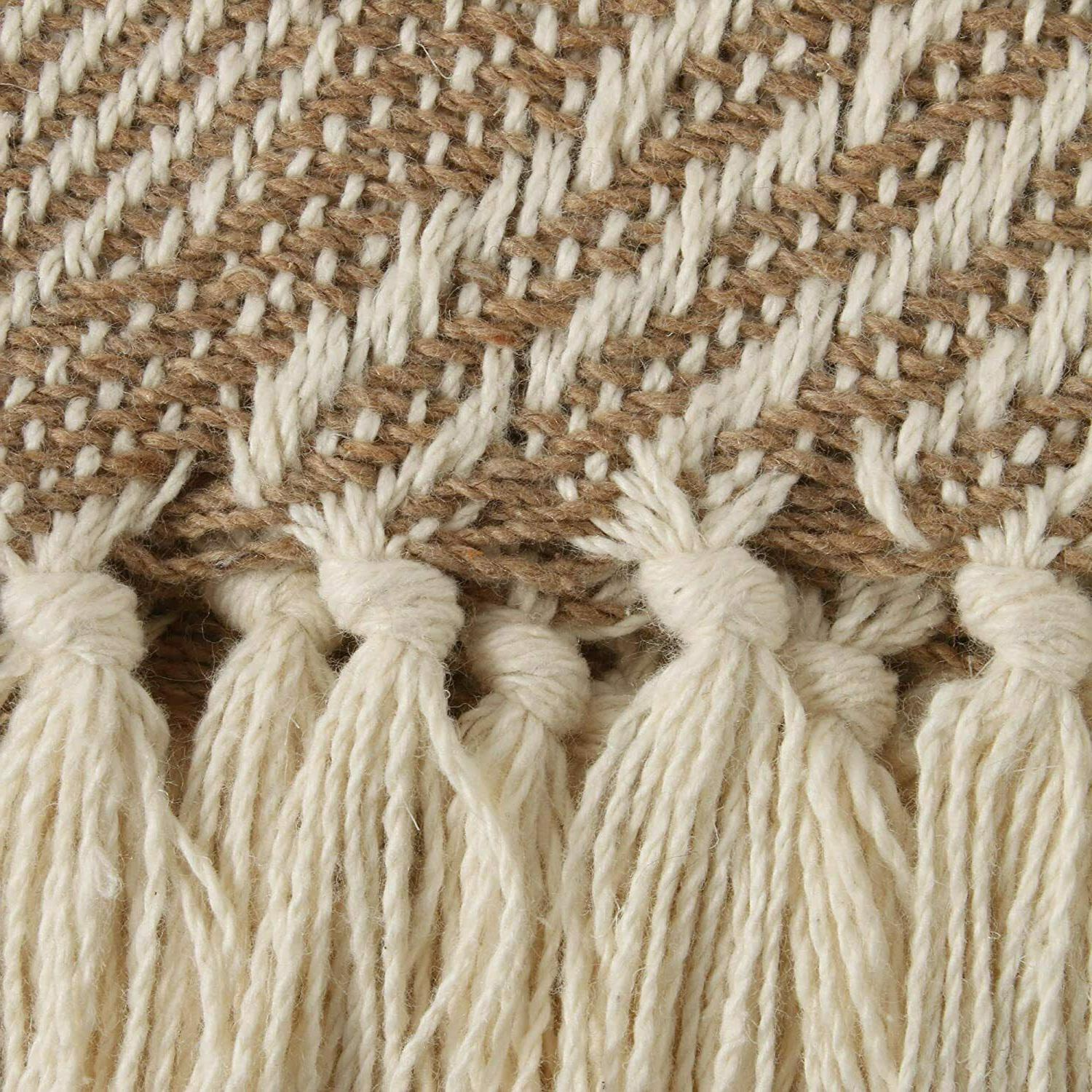 """DII Transitional Basketweave Woven Throw 60"""", Stone"""