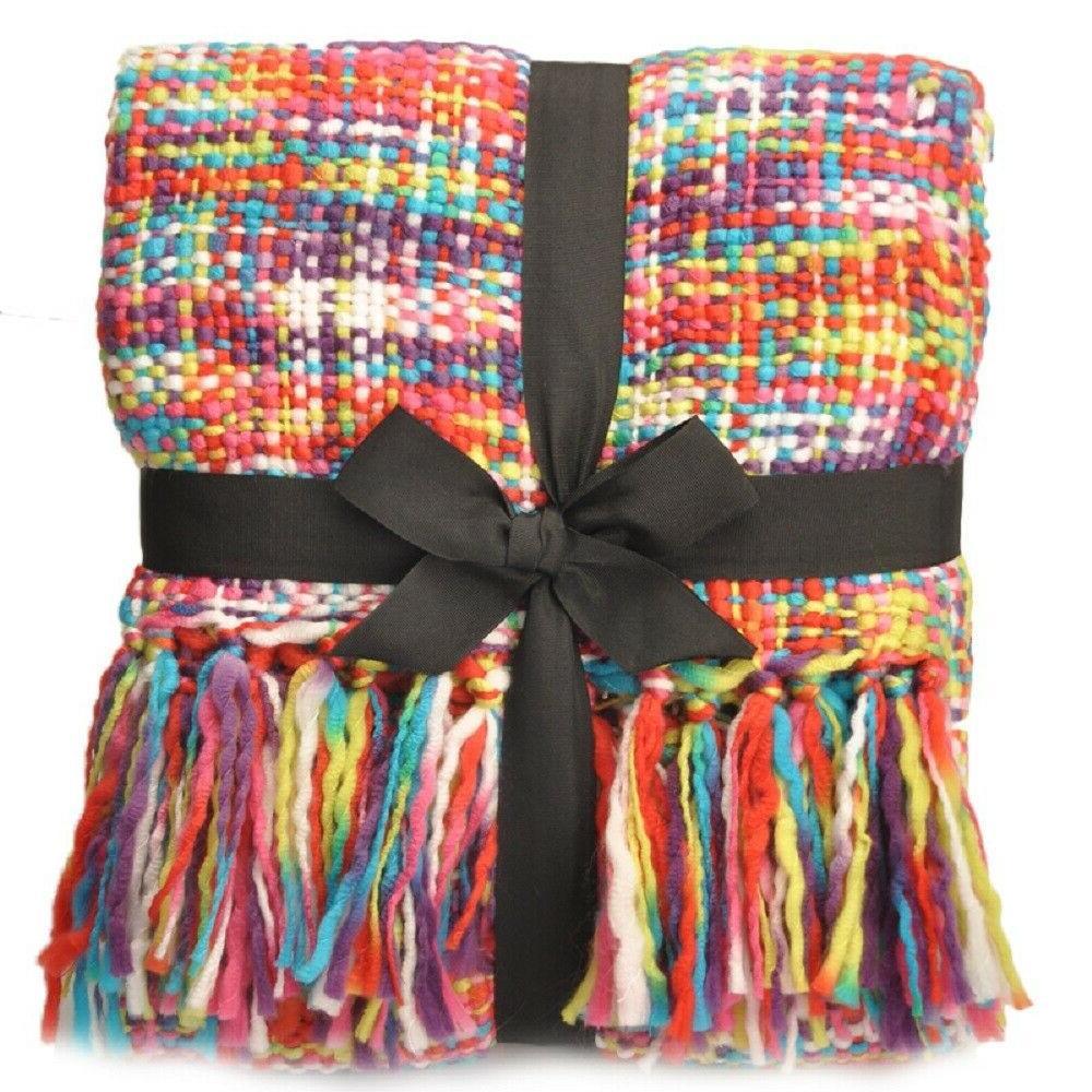 tropical rainbow throw blanket