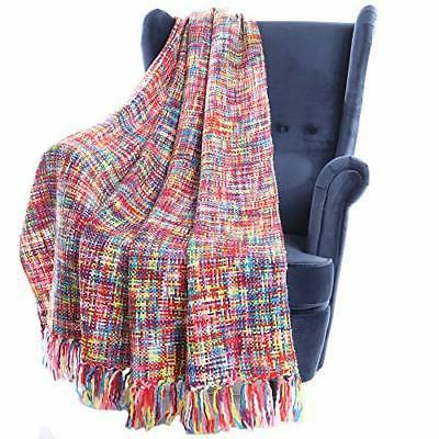 tropical style multi color rainbow throw blanket