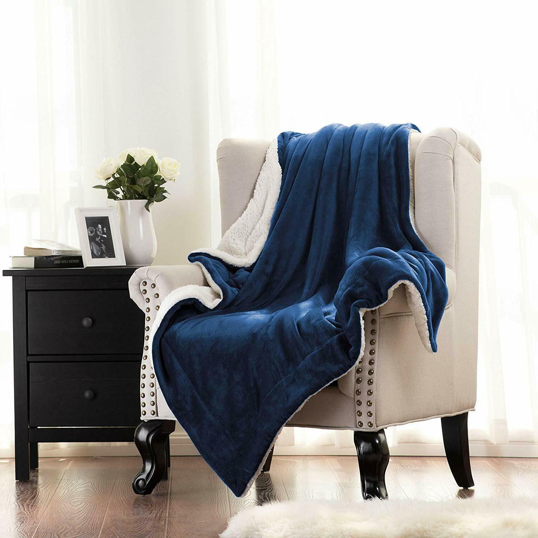 Twin Sherpa Fuzzy Soft Blue Plush Throw Warmer