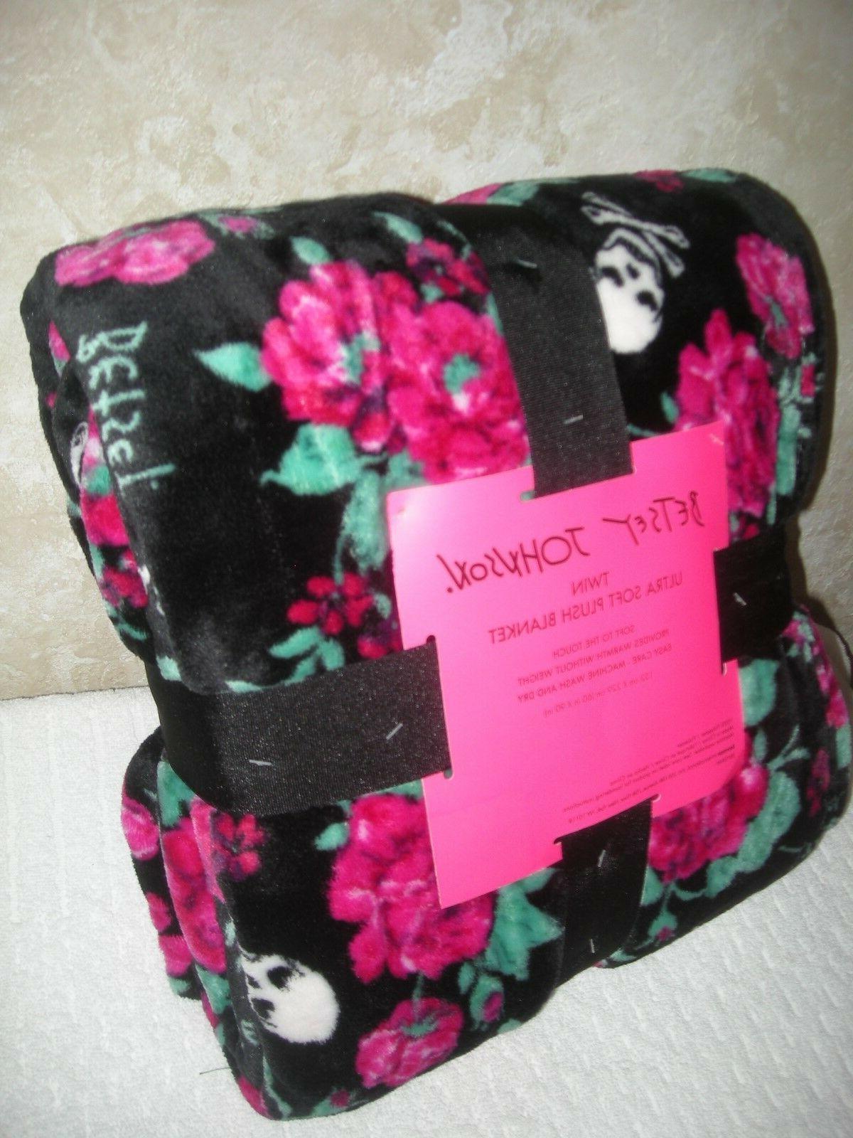 twin ultra plush throw blanket black pink