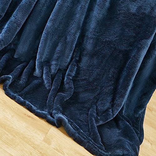 "Bertte Ultra Plush Super Throw 60"", Navy"