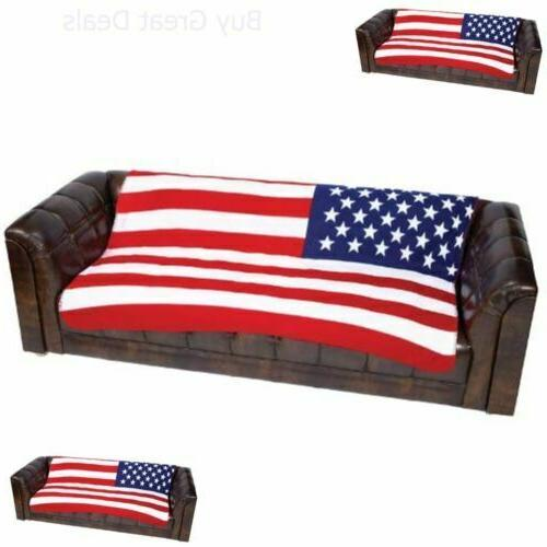 New US FLAG Soft Plush Fleece BLANKET Bed Sofa Cover Throw U