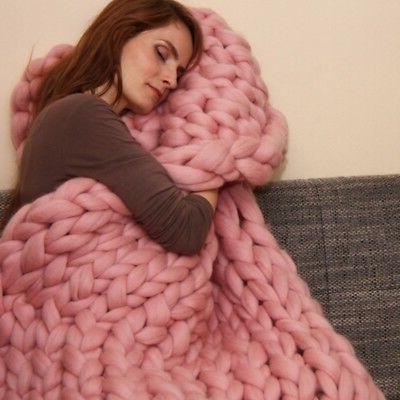 Handmade Chunky Knitted Blanket Wool Thick Line Yarn Merino