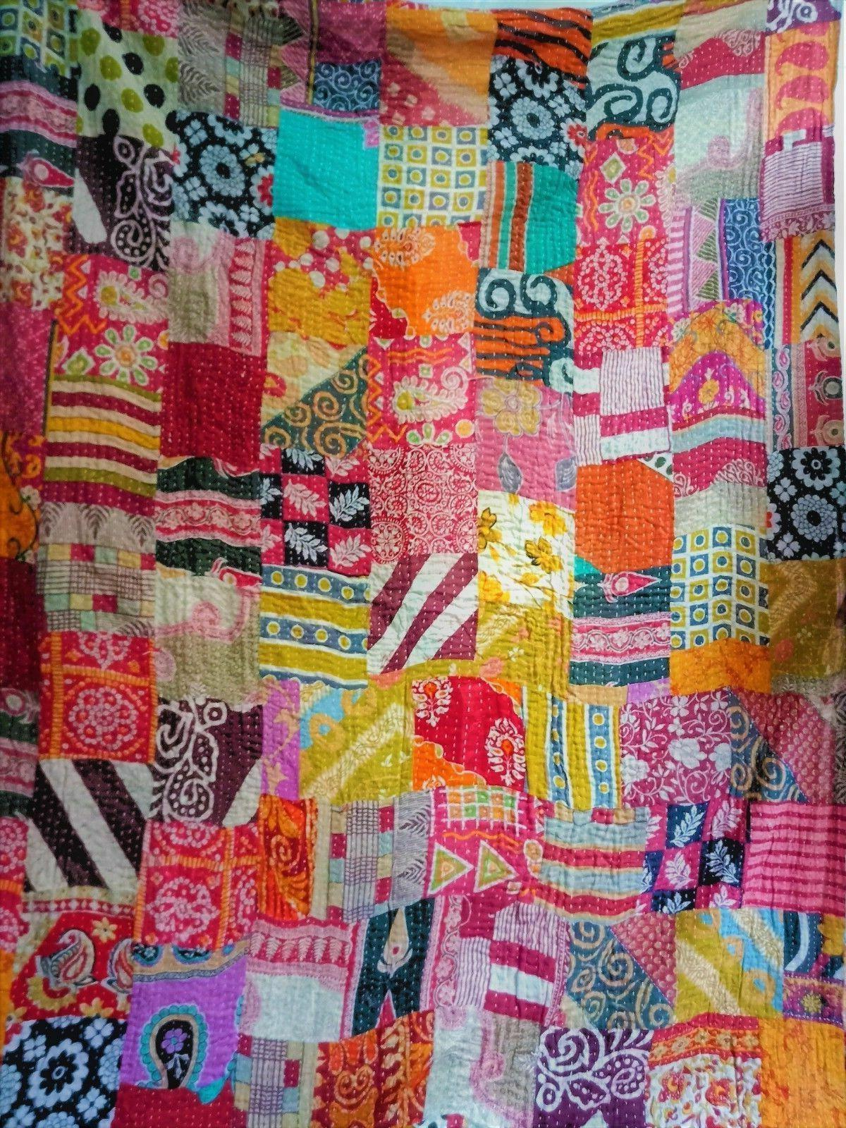 1Indian Kantha Quilt Patchwork Blanket Cotton Quilts Twin Co