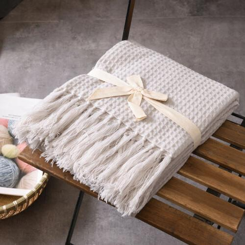 Waffle Weave Blanket Soft Sofa Couch