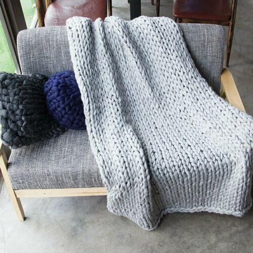 Warm Chunky Knit Blanket Thick Knitted Home Decor