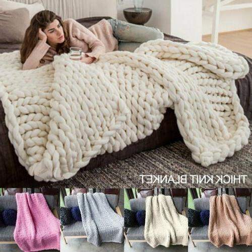 warm handmade chunky knit blanket thick line