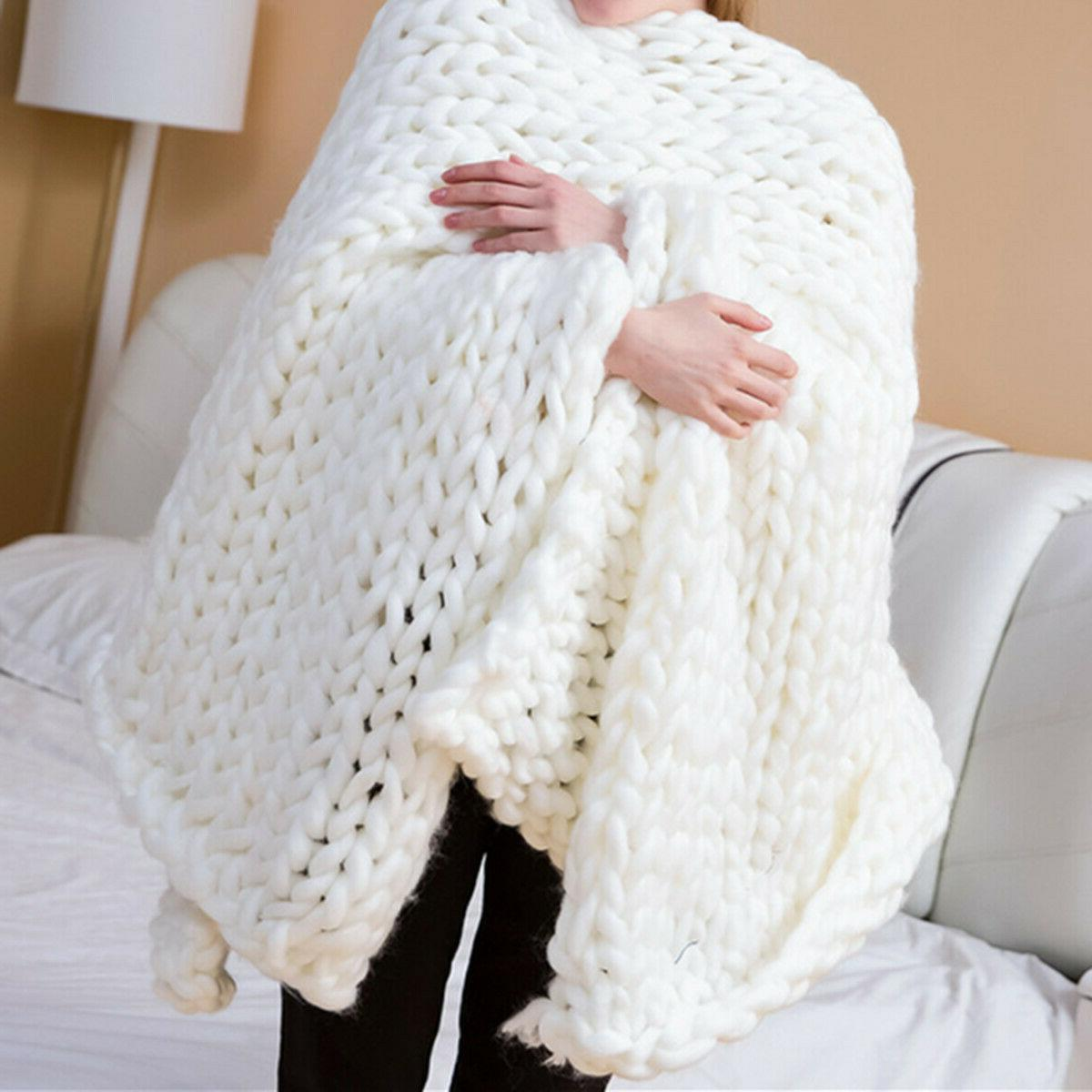 Warm Knit Blanket Thick Line Knitted Throw Home Decor
