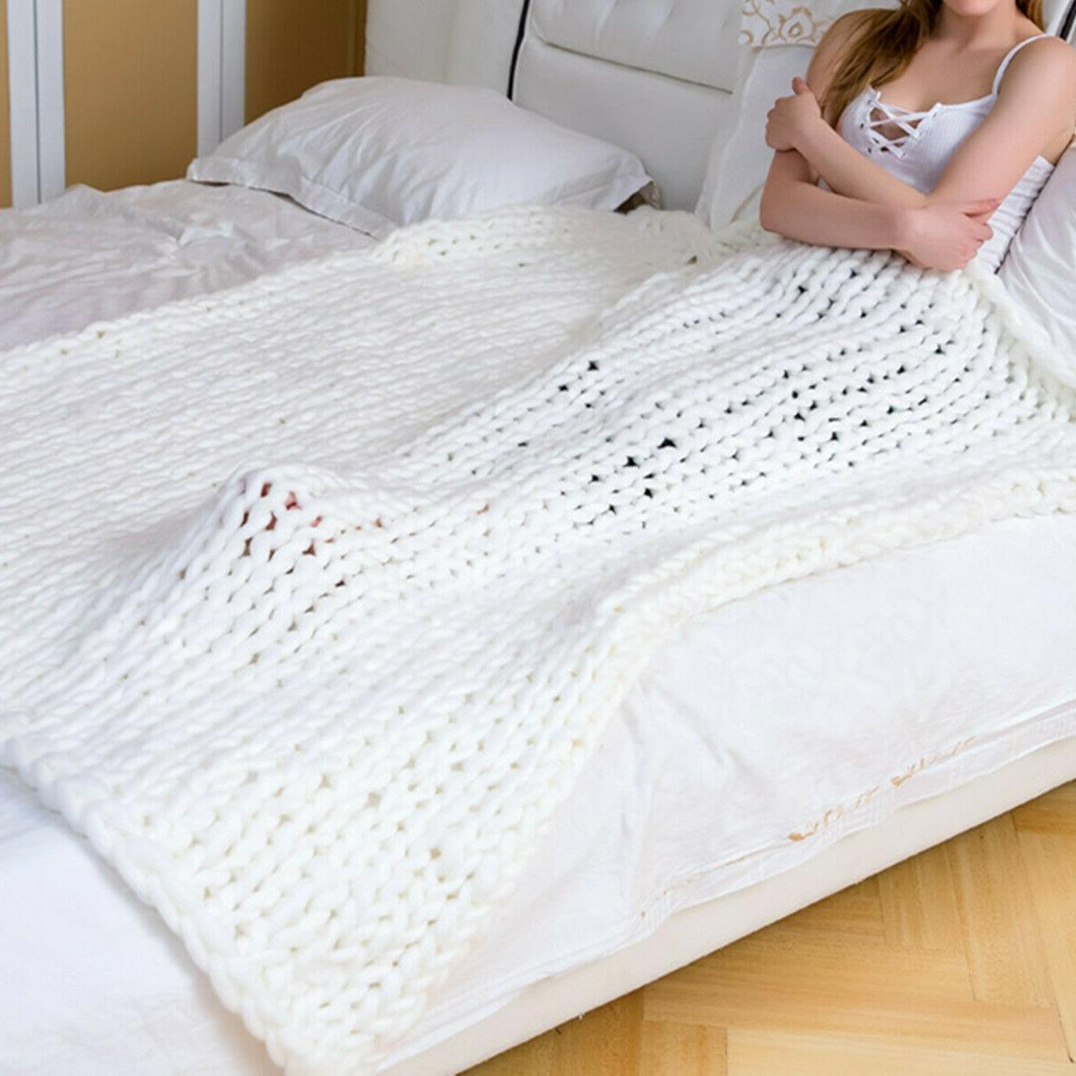 Warm Handmade Chunky Blanket Yarn Knitted Throw Home Bed Decor