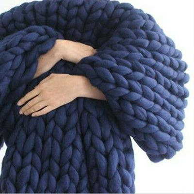 Warm Blanket Thick Yarn Knitted Throw Bed Decor