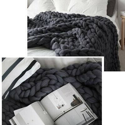 Warm Handmade Knit Blanket Knitted Throw Decor