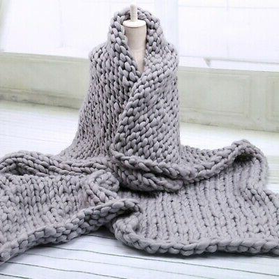 US Large Sofa Chunky Knit Yarn Warm Blanket Thick Bulky Knit