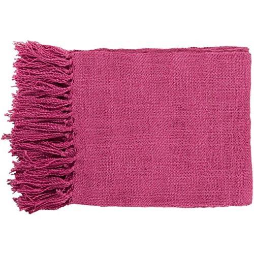 warm weaves magenta fringed throw
