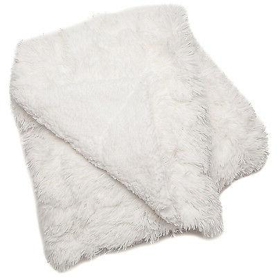 White Throw Long Chic Fuzzy Fur Faux Cozy Bed
