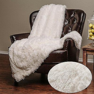 White Throw Soft Long Chic Fur Faux Warm Elegant Cozy