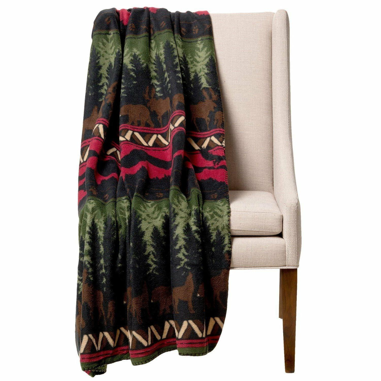 "Wilderness Throw Blanket Stripe 50"" x 60"" New Moose Bear Wol"