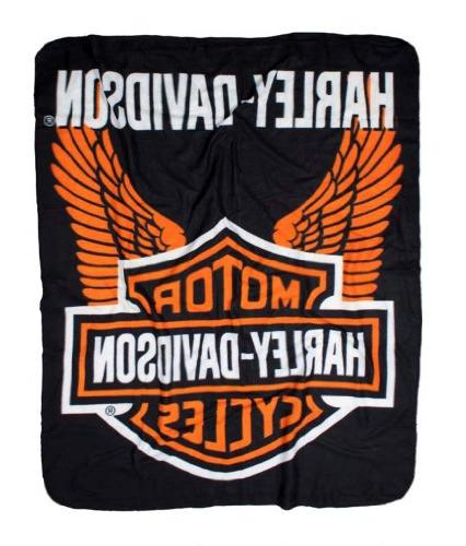 Harley-Davidson Wings Fleece Throw Blanket 50'' x 60'' Black