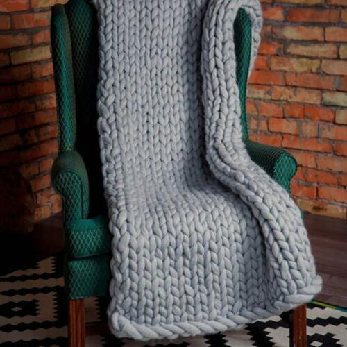 Blanket Thick Hand Knitted Throw