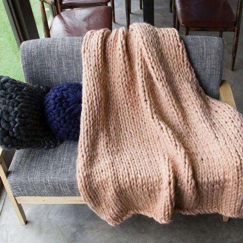 Winter Blanket Yarn Hand Bulky Knitted Throw