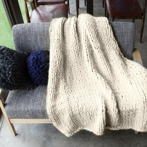 Winter Warm Blanket Thick Yarn Hand Knitted Throw