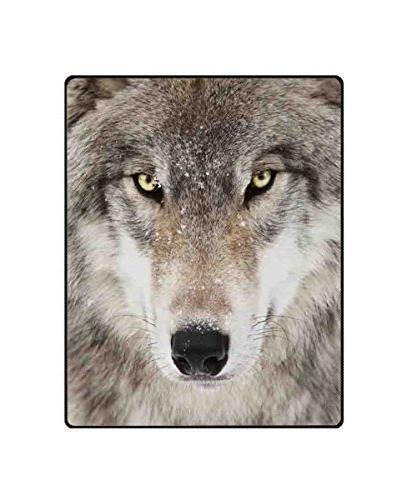 wolf printing velvet plush throw