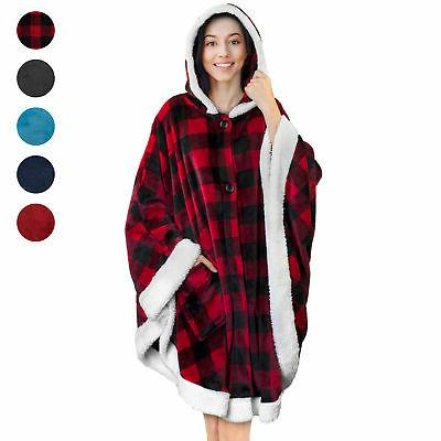 Wearable Blanket with Pockets Wrap Poncho Sherpa